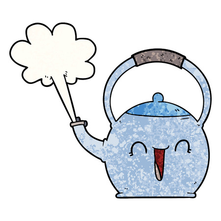 cartoon boiling kettle Иллюстрация