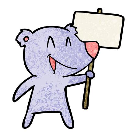 Protester bear cartoon. Stock Vector - 94737511
