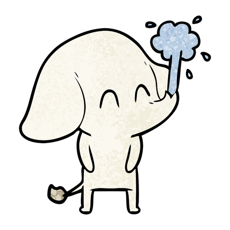 Cute cartoon olifant spuitend water.