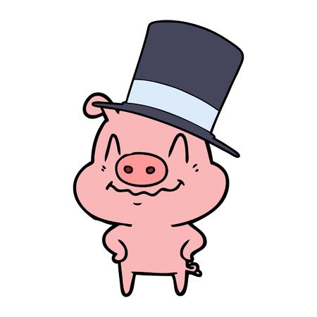 Nervous cartoon rich pig.