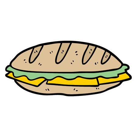 Cartoon kaas sandwich. Stock Illustratie