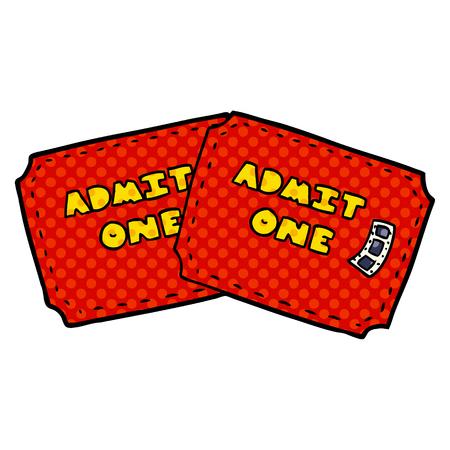 Cartoon tickets icon. Illustration