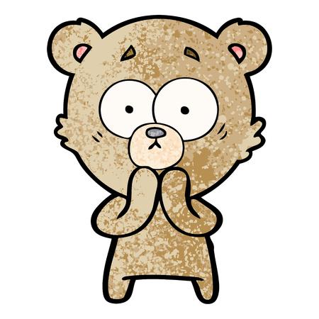Worried bear cartoon.