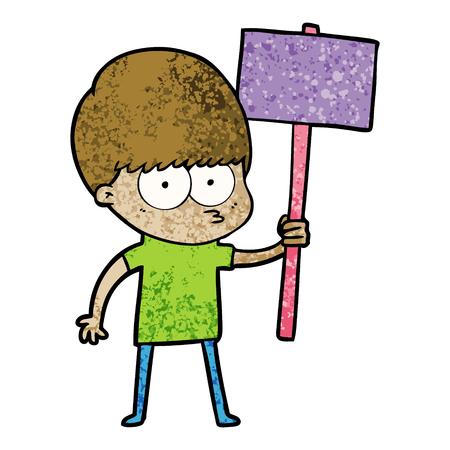 Nervous cartoon boy holding placard.