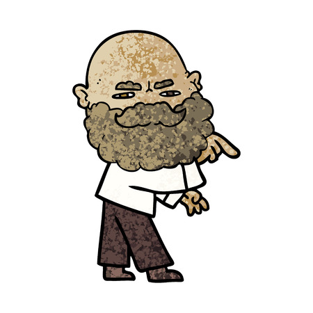Cartoon man with beard frowning and pointing. Illustration