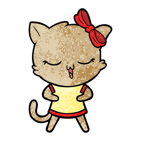 Cartoon cat with bow on head.