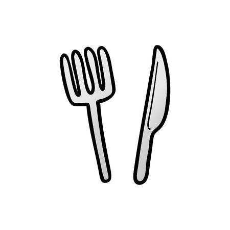 Cartoon knife and fork.