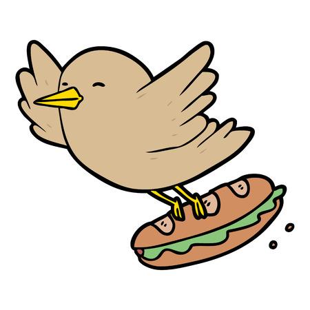 Pássaro de desenhos animados roubando sanduíche Foto de archivo - 94896267