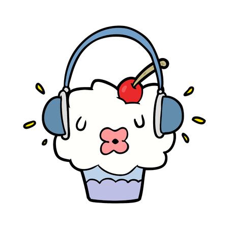 재미있는 만화 먹고 음악을 듣고 일러스트