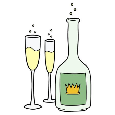 Cartoon Champagner Standard-Bild - 94896320
