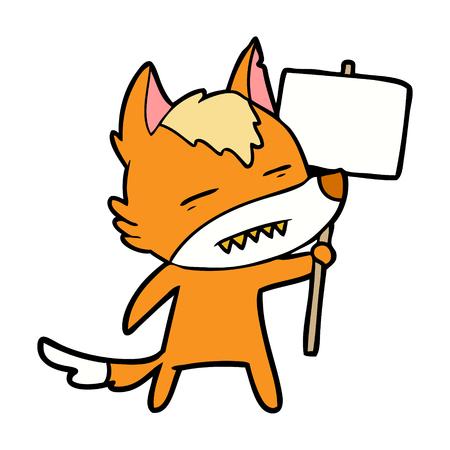 Personaggio dei cartoni animati di volpe con segno di protesta Archivio Fotografico - 94901321