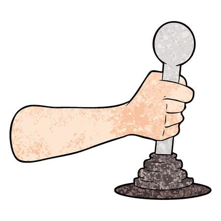 cartoon hand pulling lever Vettoriali