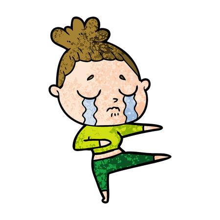 cartoon crying woman dancing