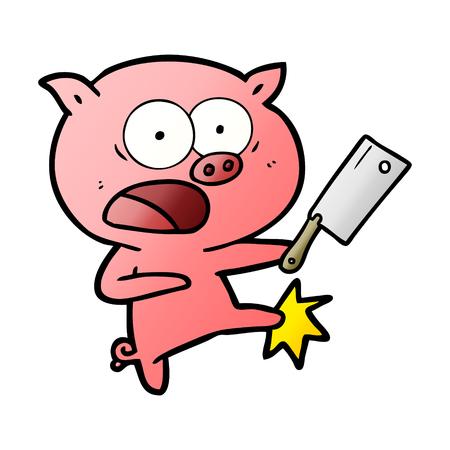 漫画の豚の叫び声と蹴り