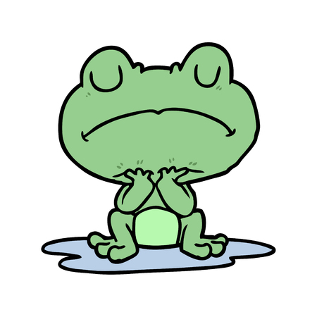 cartoon frog in puddle 向量圖像