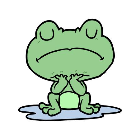 cartoon frog in puddle Çizim