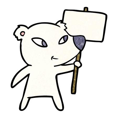 cute cartoon polar bear with protest sign
