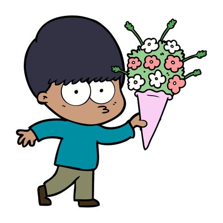 nervous cartoon boy with flowers Illusztráció