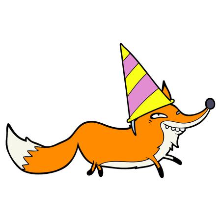 cute cartoon sly fox in party hat