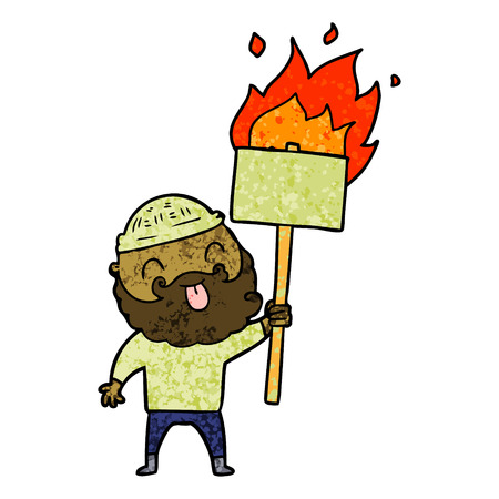 bearded protester cartoon with burning sign Stock Vector - 94743059