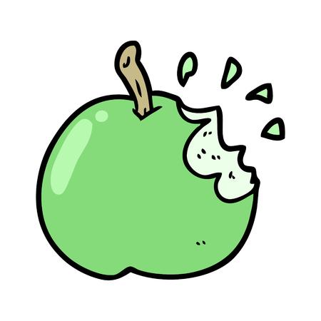 cartoon fresh bitten apple