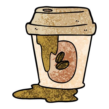 지저분한 커피 컵 만화 일러스트