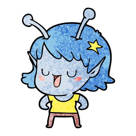 Glückliches fremder Mädchen Karikatur Standard-Bild - 94738484