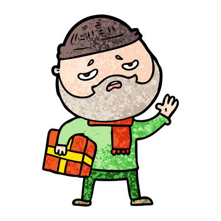 cartoon worried man with beard Çizim