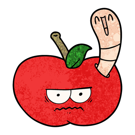 cartoon worm eating an angry apple Illustration