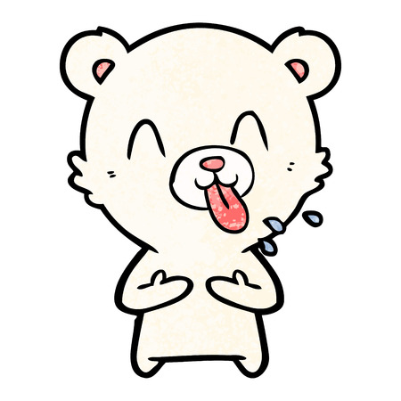 Rude cartoon polar bear sticking out tongue Ilustração