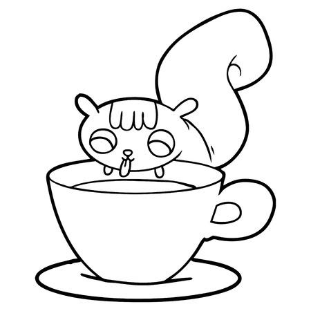 cartoon squirrel drinking tea Illustration