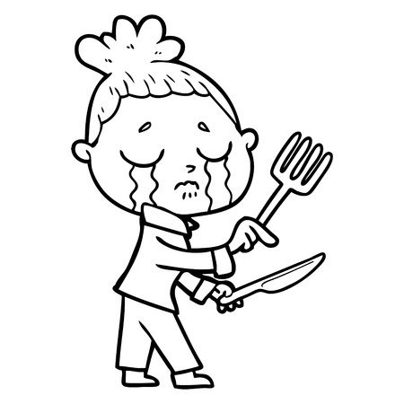 cartoon crying hungry woman pointing