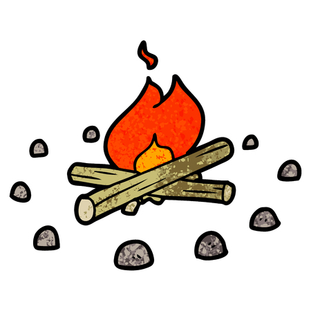 cartoon campfire 向量圖像