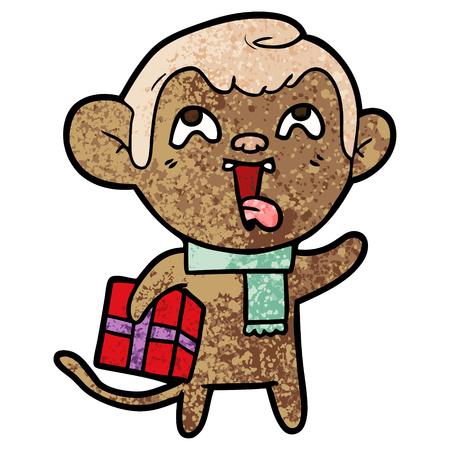 crazy cartoon monkey with christmas present Çizim