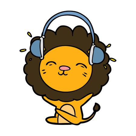 cartoon lion listening to music