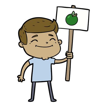 happy cartoon man with apple placard