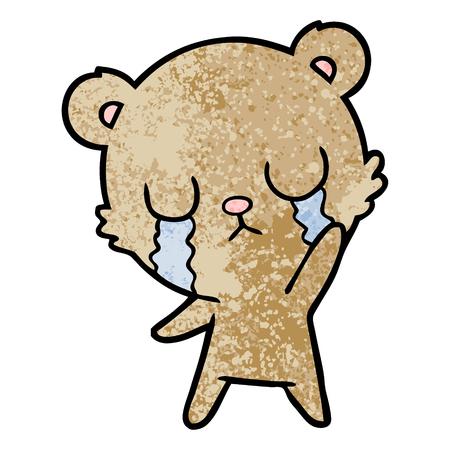huilende cartoon beer zwaaien Stock Illustratie