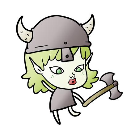 pretty cartoon viking elf girl