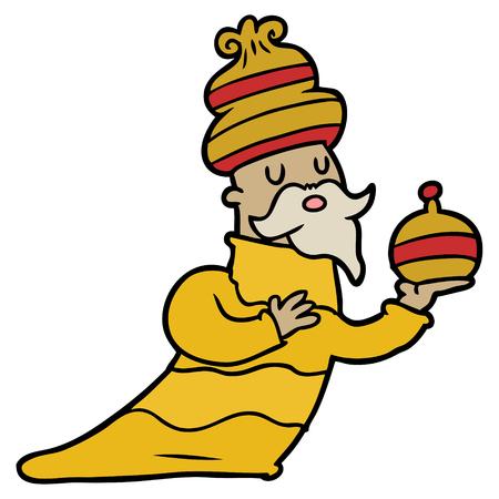 One of three wise men cartoon. Illustration
