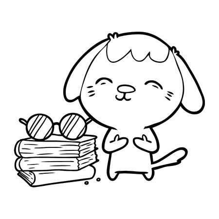 幸せな漫画の犬の学者。  イラスト・ベクター素材