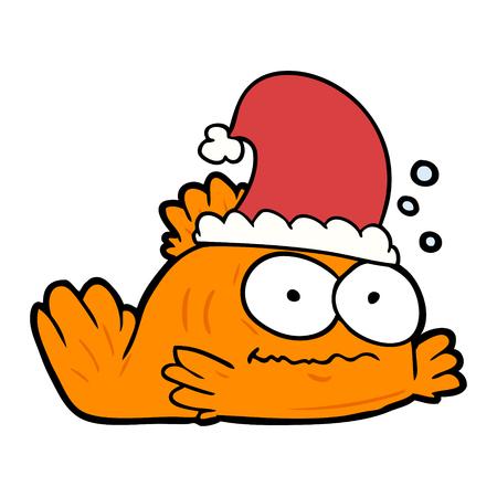 Grappige cartoon goudvis xmas hoed dragen.