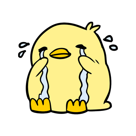 Cartoon huilende vogel