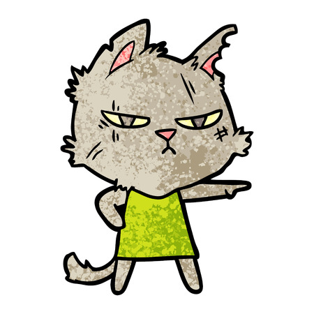 Tough cartoon cat girl pointing.