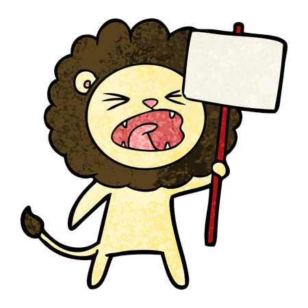 Cartoon lion with protest sign