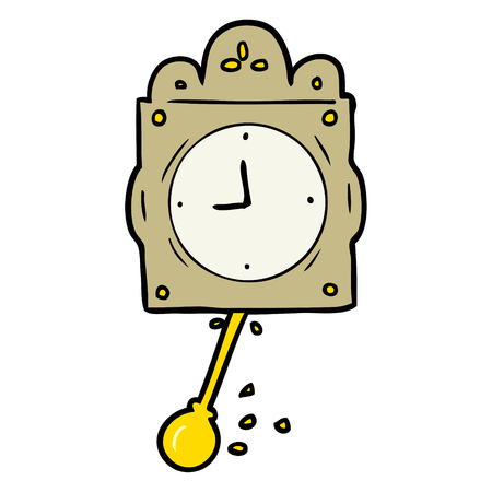 Cartoon ticking clock with pendulum