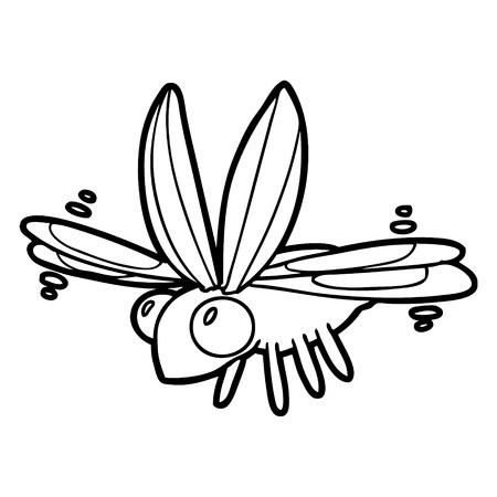 Cute cartoon bug flying. Çizim