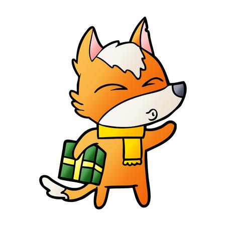 fox cartoon character with present Ilustração