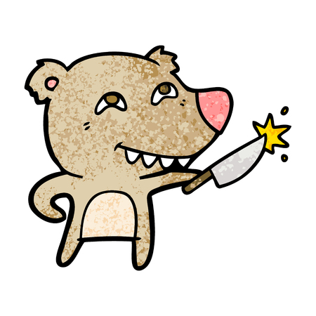 cartoon bear with sharp knife Illustration