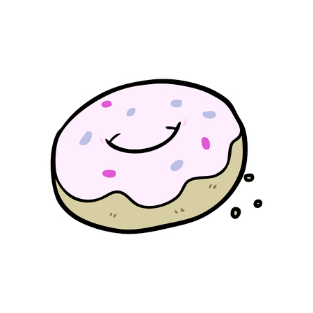 Cartoon donut with sprinkles.