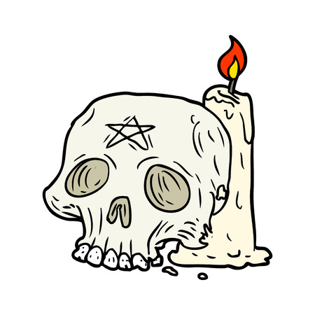 Cartoon spooky skull and candle